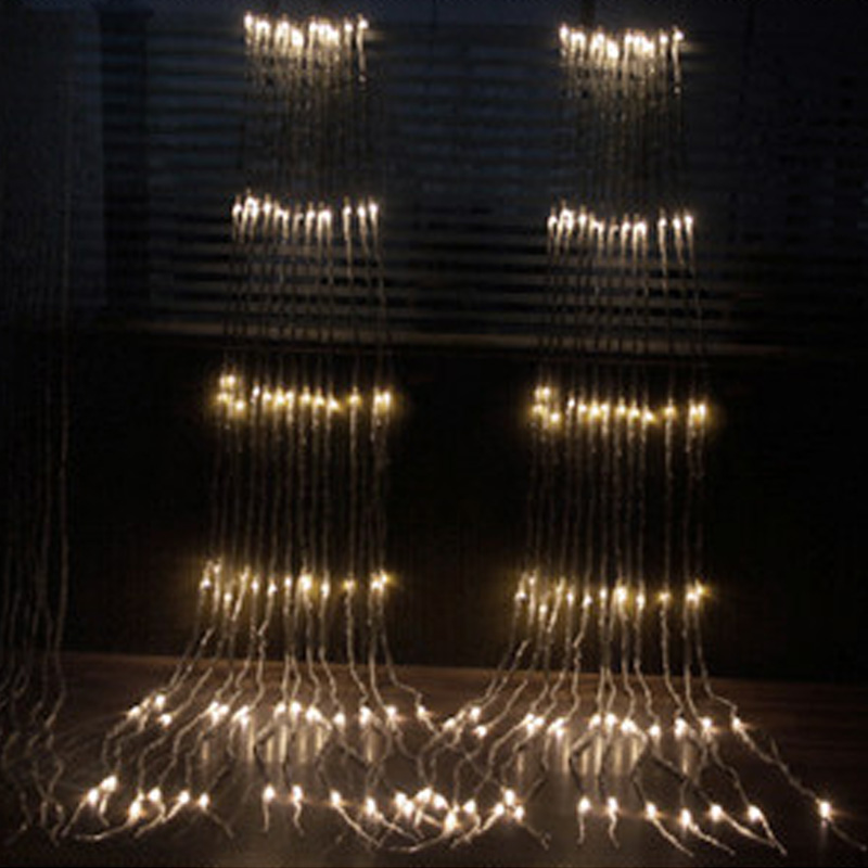 8 modos luces LED luces de red cortina cadena de luces luces blanco cálido interior exterior