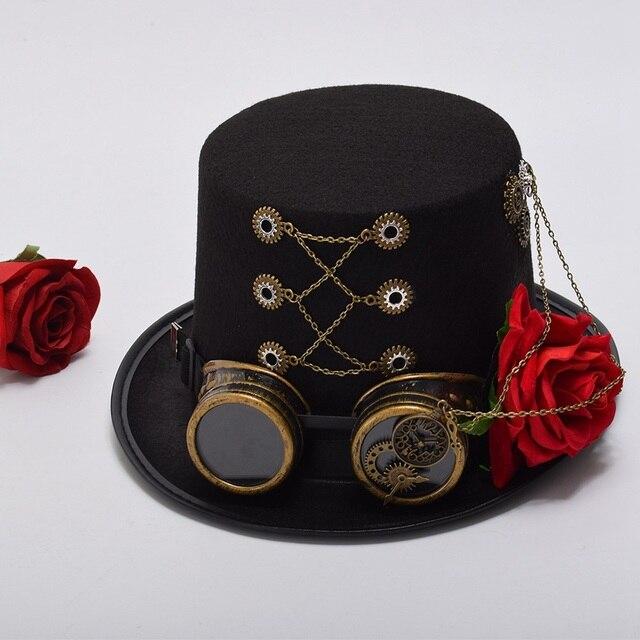 Шляпа в стиле стимпанк с очками и розой 3