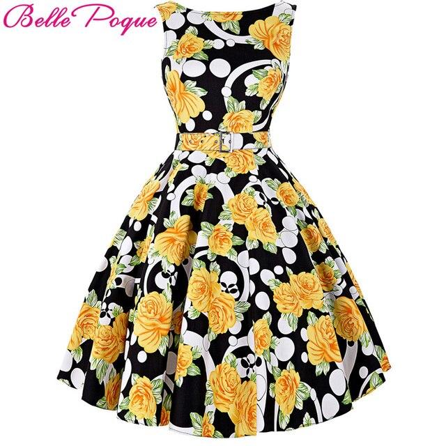Belle Poque Vintage Dress 50s 60s Rockabilly Sleeveless Floral Print Belt Pinup Vestidos Summer Women O Neck Casual Dresses 2017