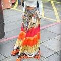 Женщины Мода Повседневная Лето Отпечатано Красочные Сращивание Свободные Boho Пляж Лонг Свинг Юбка Оранжевый Один Размер