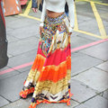 Women Fashion Casual Summer Printed Colorful Splicing Loose Boho Beach Long Swing Skirt Orange One Size
