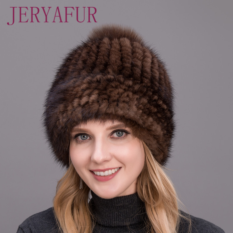 ホット販売 2019 リアルミンクの毛皮密接織厚手の帽子キャップ女性のための冬のキツネの毛皮ポンポン上に愛らし高品質  グループ上の アパレル アクセサリー からの スカリー & ビーニー帽 の中 1