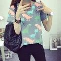 Kawaii vetement femme Animales Dinosaurio de Impresión Mujeres de la camiseta 2017 Verano Estilo Japonés Harajuku T-shirt de la Mujer Tops