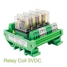 4 Channel 1 SPDT DIN Rail Mount OMRON G2R 5VDC Interface Relay Module