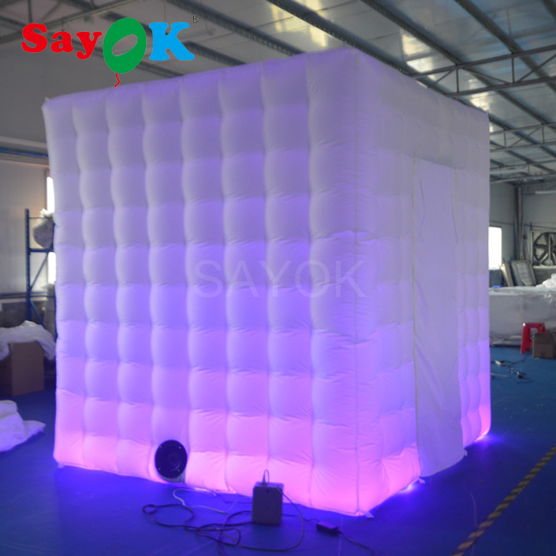 Sayok Portable Inflatable Photo Booth Tent White 2.5x2.5x2.5M with 17 Color Changing Lights 2 Doors for Wedding Party Rental