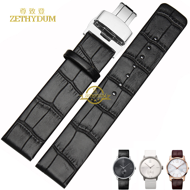 Thin Genuine leather bracelet 16 18 20 22mm watch strap men woman watchband wristwatches band Butterfly buckle for ck K2Y231 the golden butterfly leather leather watchband leisurely bracelet watch with 20mm common men and women