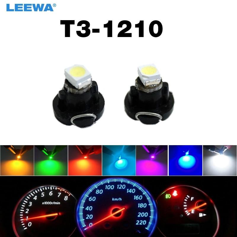 LEEWA 5шт 12В Т3 1210/3528 чип 1LED приборной панели автомобиля метр панель свет лампы светодиодные лампы 7-Цвет #CA4448