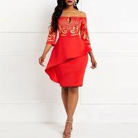Red Women Bodycon Sequinis Slash Neck 2019 Summer Elegant Tight Office Lady Dresses Robe African Female Lady Midi Dress Sale