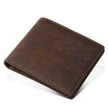 цена на VEJIERY Men Wallet Short Genuine Crazy Horse Cowhide Leather Purse Small Vintage Wallets Male Clutch Leather Wallet Mens