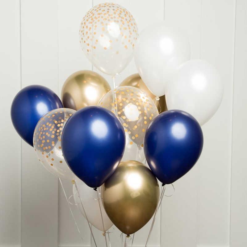 12 pçs diy balões conjunto azul marinho vinho vermelho prata ouro metal cromado balão guirlanda casamento noivado festa de aniversário decoração