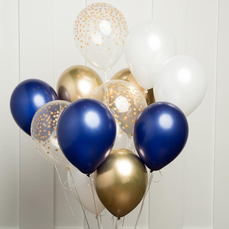 12pcs DIY Balloons Set Navy Blue Wine Red Silver Gold Metal Chrome Balloon Garland Wedding Engagement Birthday Decor Party