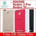 Caso de xiaomi redmi 3 s redmi 3 pro 3 s cubierta de la caja de nillkin frosted caso para xiaomi redmi 3 s prime 3 pro 3 s con película de vidrio