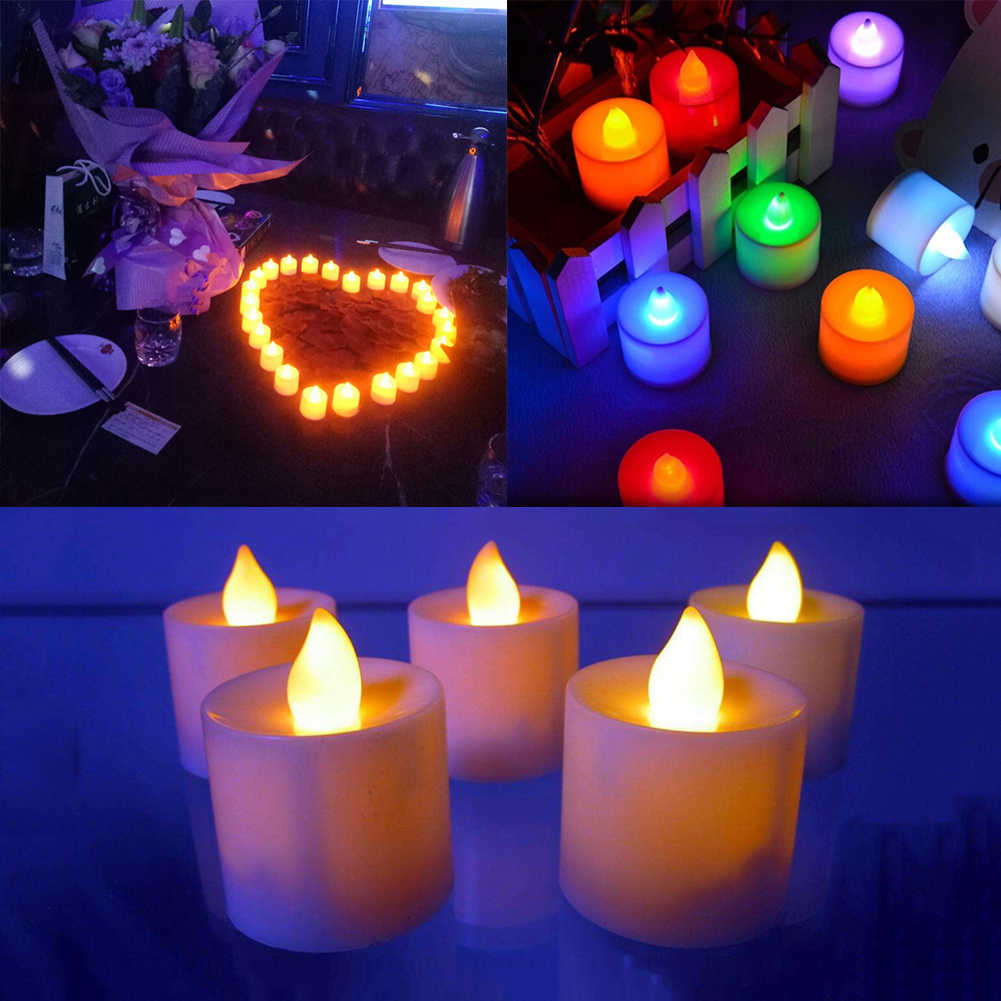 1PC Romantic LED Candle Colorful Lamp Simulation Color Flame Tea Light Home Wedding Birthday Party Propose Event Decoration