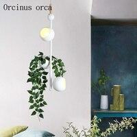 Nordic criativo colorido planta lustre sala de estar quarto moderno e minimalista vaso lustre ferro frete grátis