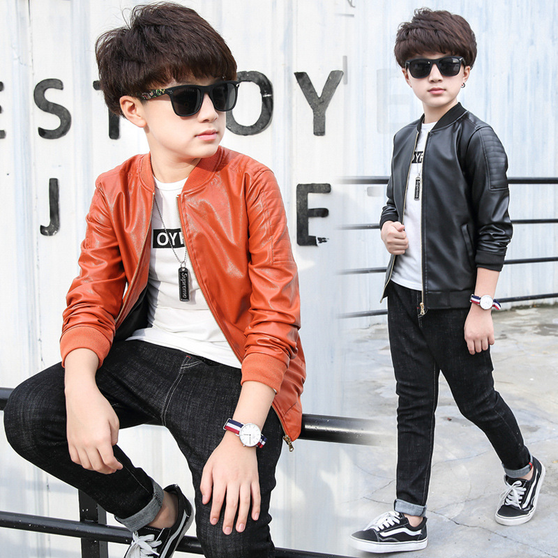 Girl Jackets 2017 New Spring Children PU Leather Coat Kids Boy Casual Solid Outerwear Motorcycle Leather Coats For Girls Parkas