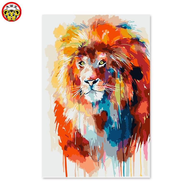 Lion niños poste pintura digital DIY pintura al óleo digital por números dibujo pintado a mano cuadro decoración cuadros
