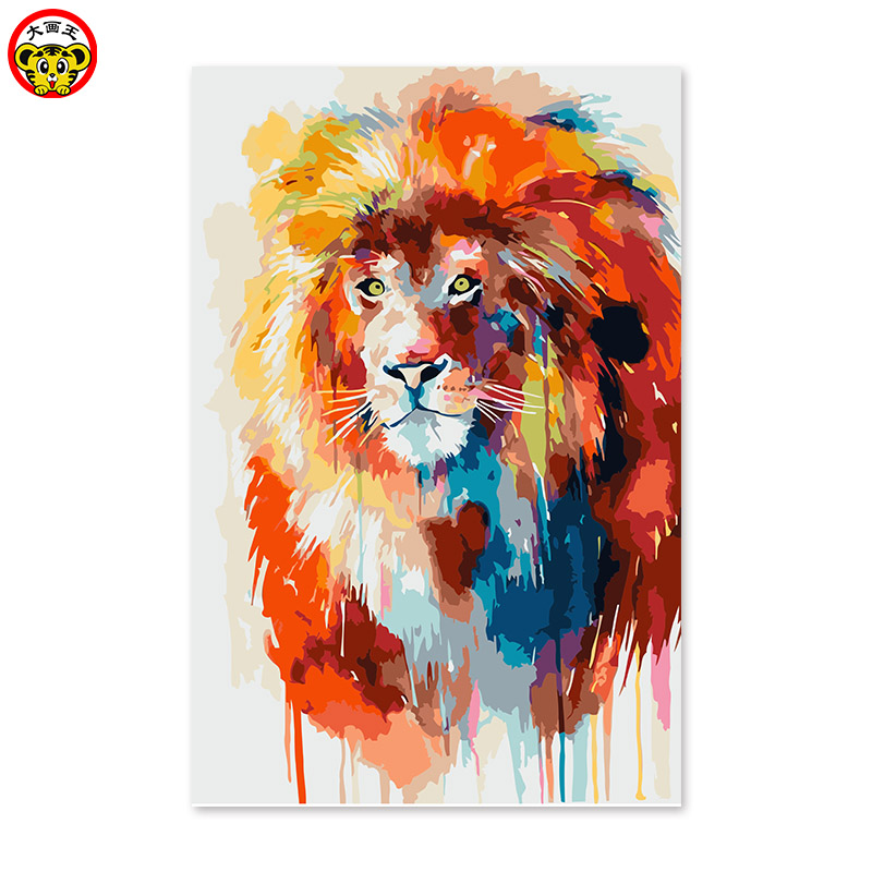 lion children post digital painting Diy digital oil painting by numbers drawing hand painted picture Wall Decor pictures