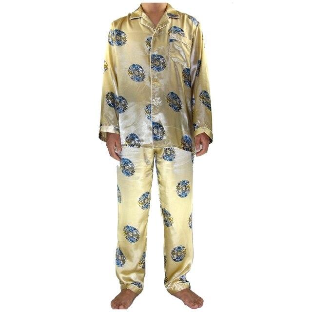 Золото китайский мужчины шелковый халат пижамы установить полный рукавом пижамы костюм 2 шт. рубашку и брюки пижамы платье sml XL XXL XXXL SM010