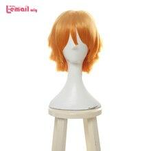 L email wig Demon Slayer Zenitsu Agatsuma Cosplay Wigs Kimetsu no Yaiba Cosplay Short Mixed Color Wig Synthetic Hair Perucas