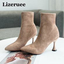 2019 Spring/Autumn New Women Sock Boots Pointed Toe Elastic High Boots Slip On High Heel Ankle Boots Women Pumps Stiletto Botas luxury design knitted peep toe boots summer sock ankle women elastic stretch botas high heels pumps ladies dress bota feminina