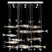 Современные Crystal Fish LED Чердак Коридор Ресторан Спальня Лампа Потолочный Светильник Люстра Кулон Droplight Освещения Decor