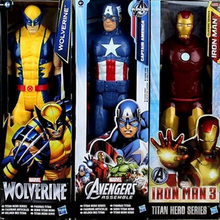 30cm Marvel Super Heros The Avengers Thor Iron Man Spider Man Captain American Wolverine PVC Toy Action Figure Model With Box