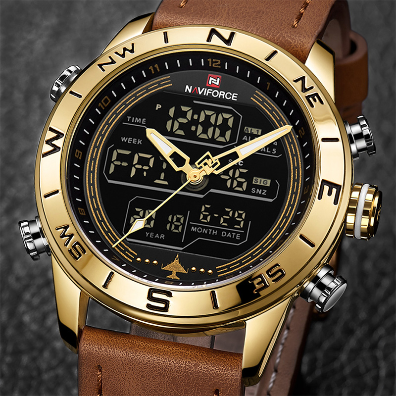 New NAVIFORCE 9144 Men Watches Led Casual Sport Military Watch Analog Quartz Waterproof Year Month And Week Display Wristwatches naviforce men silicone band wristwatches waterproof quartz analog display date day week wrist watch fashion casual watches 9107