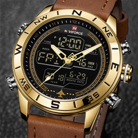 New NAVIFORCE 9144 Men Watches Led Casual Sport Military Watch Analog Quartz Waterproof Year Month And Week Display Wristwatches