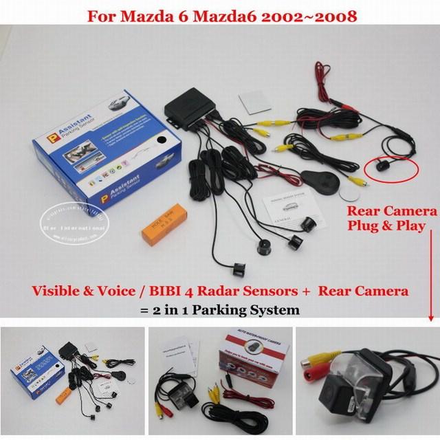 Автомобилей Датчики Парковки + Заднего Вида Резервное Копирование Камеры = 2 в 1 году/BIBI Сигнализации Система Парковки Для Mazda 6 Mazda6 2002 ~ 2008