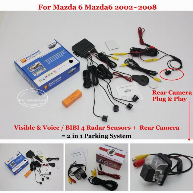 Car Parking Sensors + Rear View Back Up Camera = 2 in 1 / BIBI Alarm Parking System For Mazda 6 Mazda6 2002~2008