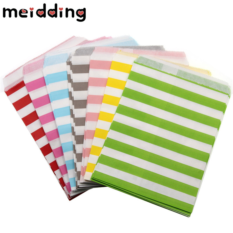 MEIDDING 25pcs/lot 13x18cm Paper Bags Popcorn Candy Bags Vertical Stripes Party Food Paper Bag Wedding Birthday Party Supplies