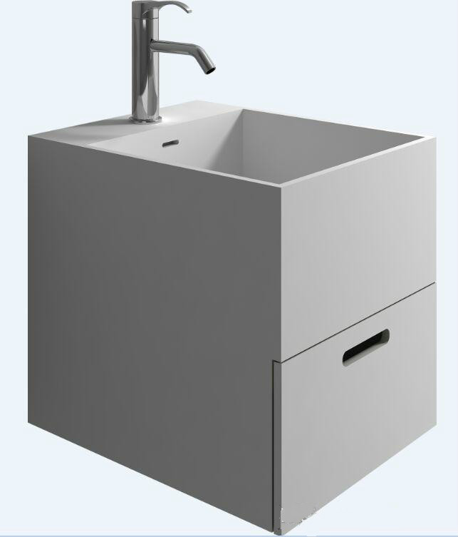 все цены на Bathroom Rectangular Wall Hung Vessel Wash Sink Solid Surface Stone Muti-color Washbasin With Drawer RS38422