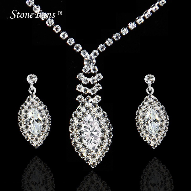 StoneFans Rhinestone High Quality Fashion Jewelery Sets For Women 2017 Wedding Bridal Girls Luxury Cubic Zirconia Jewellery Set