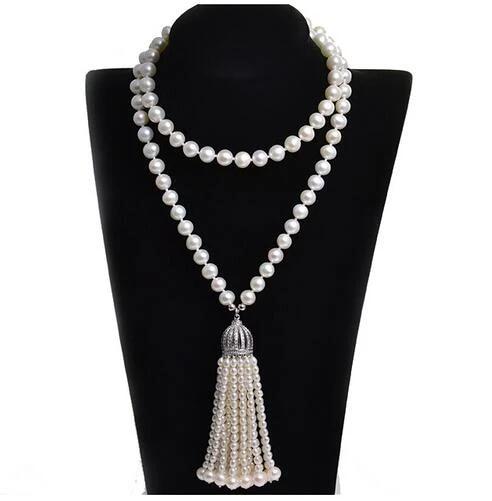 Pearl Long Fringe Necklace