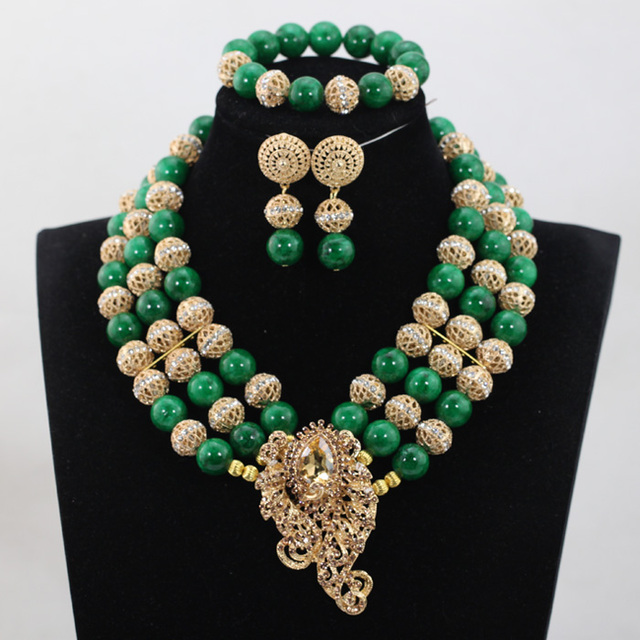 Green Costume Jewellery: 2017 Latest Greenery African Beads Nigerian Wedding