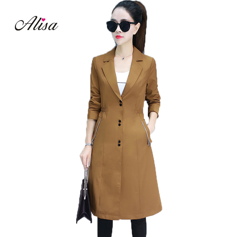 Spring   Trench   Coat 2019 New Long Sleeve Solid Harajuku Windbreaker Women Single Breasted Casual Long   Trench   Korean Female Coat