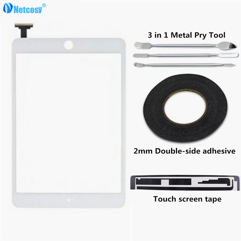 Netcosy Touch Screen Digitizer Panel Repair parts for iPad mini 1/2 touch panel & 2mm adhesive & Pry Tools & Touch screen tape bqt replacement glsss screen for ipad mini1 mini2 touch screen digitizer without ic with tape parts 100