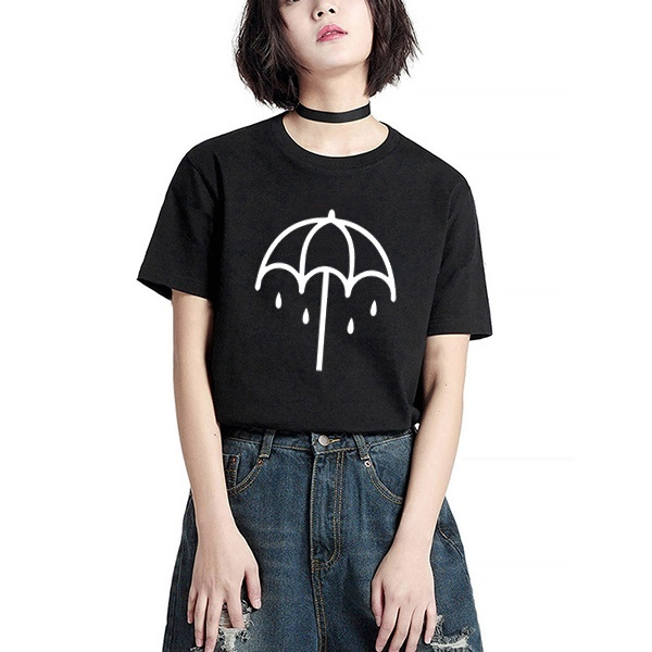 Women Loose Style Bring Me The Horizon T-shirt Summer Letter Print Harajuku Female Tops Younhg Street Style Grunge Tumblr Tees