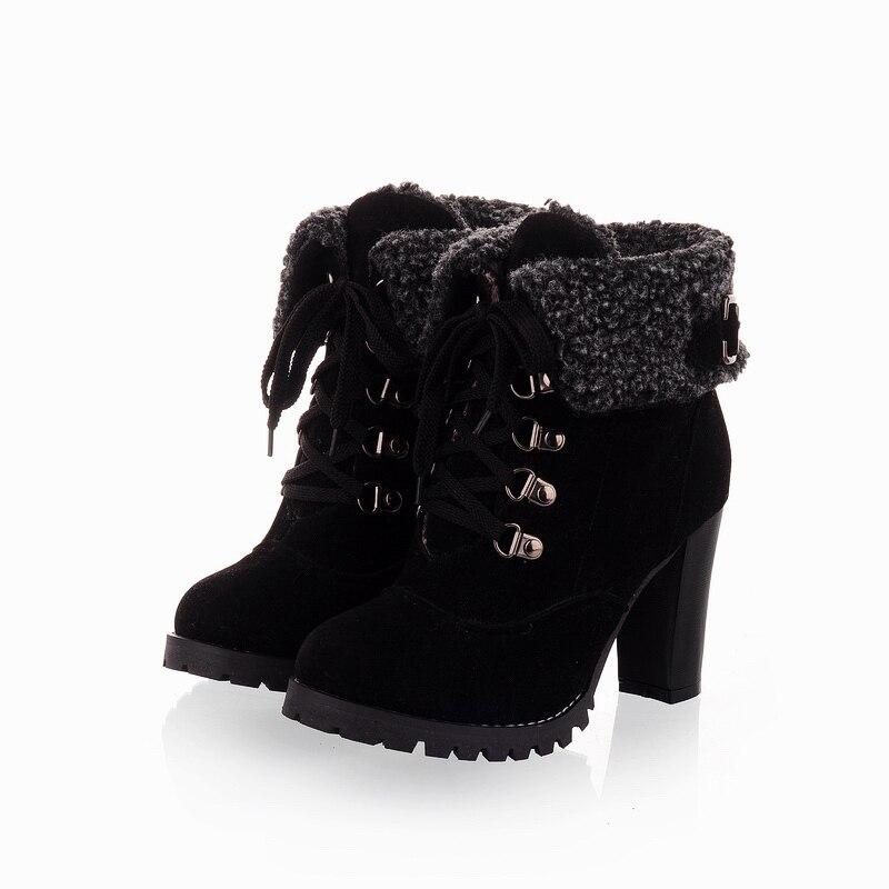 2017 Grueso Altos Negro Para Las marrón Up Lace Nubuck Tacones Mujer Zapatos Nieve Botas Nueva Mujeres Caliente amarillo Cuero Moda De rwqAxE1rF