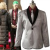 4 Pieces Movie Suicide Squad Joker Costume Cosplay Suit Silver Coat Psychos Killers Jacket Whole