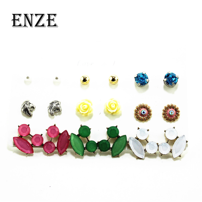 ENZE fashion new plant 9 pairs / set of flowers color green white imitation pearl mixed set earrings exquisite accessories