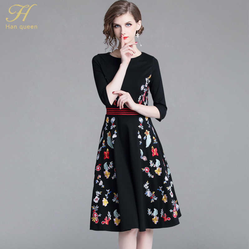 cadd1065c8 H Han Queen New Europe 2018 Autumn Casual Black Embroidered Dress Elegant  V-Neck Runway