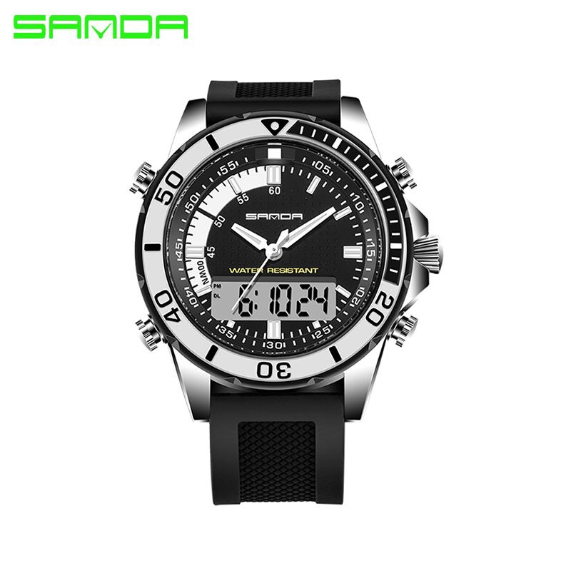 SANDA 003 Men Fashion Silicone Sport Watch Automatic waterproof army military wristwatch top quality mens famous