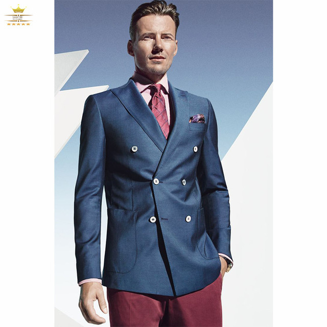 Navy Blue And Red Suit - Go Suits