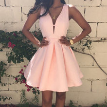Розовое атласное платье для выпускного вечера вечернее короткое