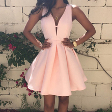 Bbonlinedress 2019 New Arrival Homecoming Dress A Line V-Neck Short Prom Pink Satin Party Vestido de bienvenida Mini