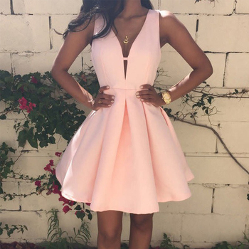 vestidos Pink Homecoming Dresses Satin Deep V-Neck Sleeveless Short Party Dress Formal Gowns Graduation Dress 2020 light sky blue lace graduation short prom dresses bateau neck satin ruched mini homecoming party cocktail dress for girls