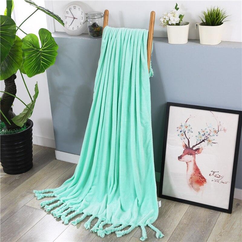 Green Solid Tassel Super Comfortable Soft Mink Felting Blanket  Floral Blanket Thrown On The Sofa / Bed / Travel Breathable WarmGreen Solid Tassel Super Comfortable Soft Mink Felting Blanket  Floral Blanket Thrown On The Sofa / Bed / Travel Breathable Warm