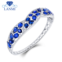 LANMI Solid 18K White Gold Blue Sapphire Sparkly Diamond Bangle for Women Natural Gemstone Wedding Jewelry Christmas Gift