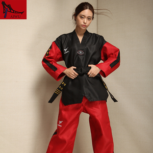 Image 5 - five star doboks adult men and women Taekwondo coach clothing long sleeved clothing Black red design adult taekwondo uniforms